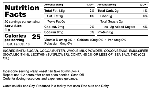 Milk Chocolate Large Nutritional Information