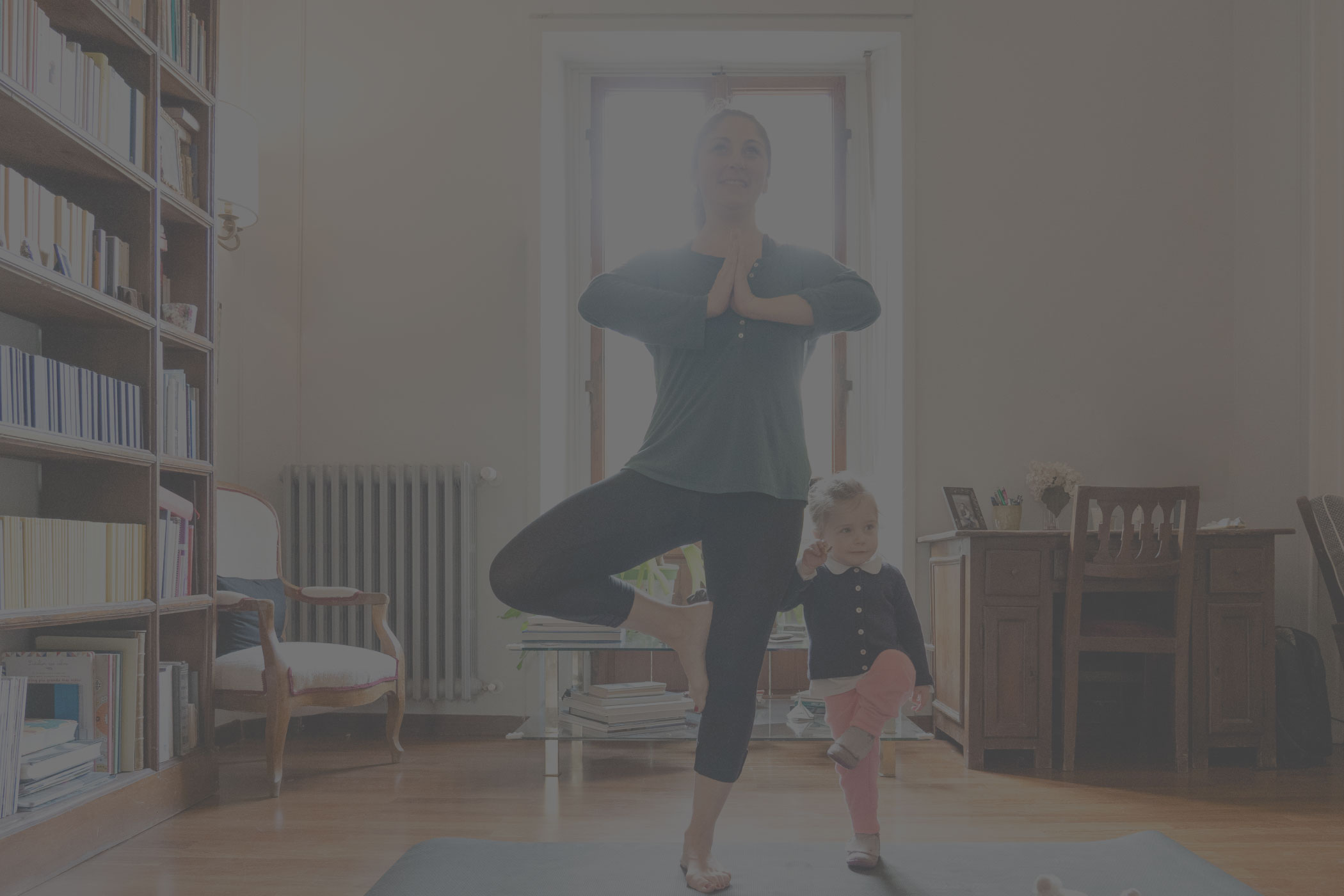 mother and child doing yoga together, parenting on pot